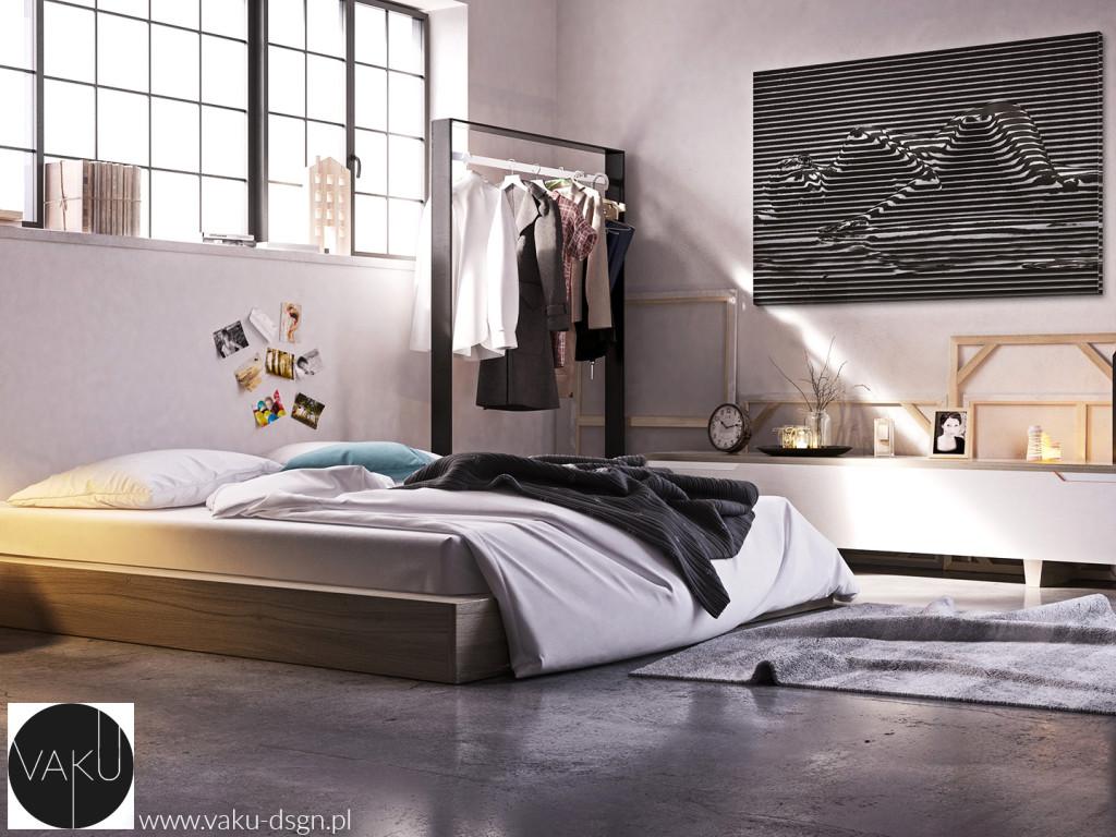 sypialnia - styl industrialny