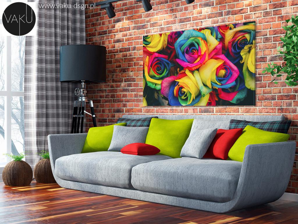 obraz z kolorowymi różami