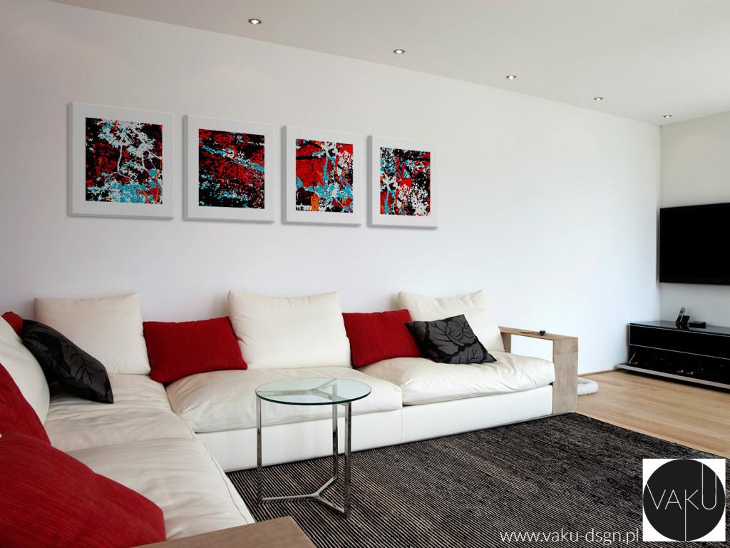 Obraz wieloczęściowy, mimo niewielkich rozmiarów obrazów składowych - tu 40x40cm - potrafi utworzyć naprawdę wielką i efektowną kompozycję. W układzie poziomym, wraz z odstępami stanowi ponad 2-metrowej długości dekorację na ścianie.