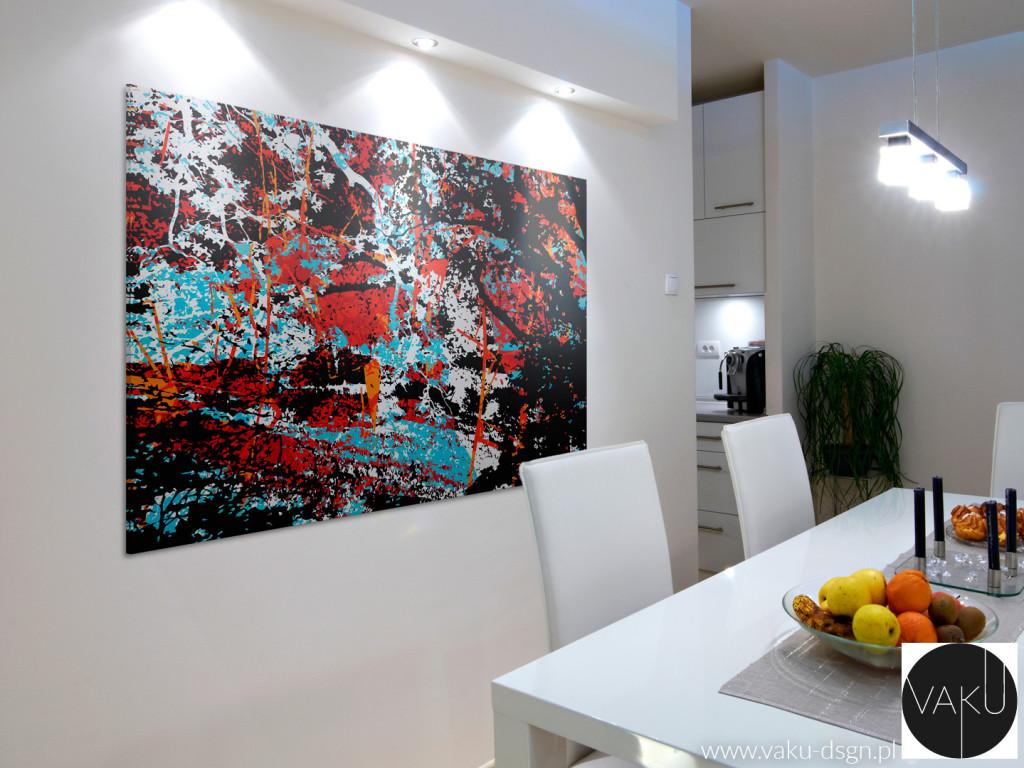 Abstrakcja w gigantycznym 1-częściowym formacie 120x80cm efektownie wypełnia dużą, pustą ścianę w jadalni.