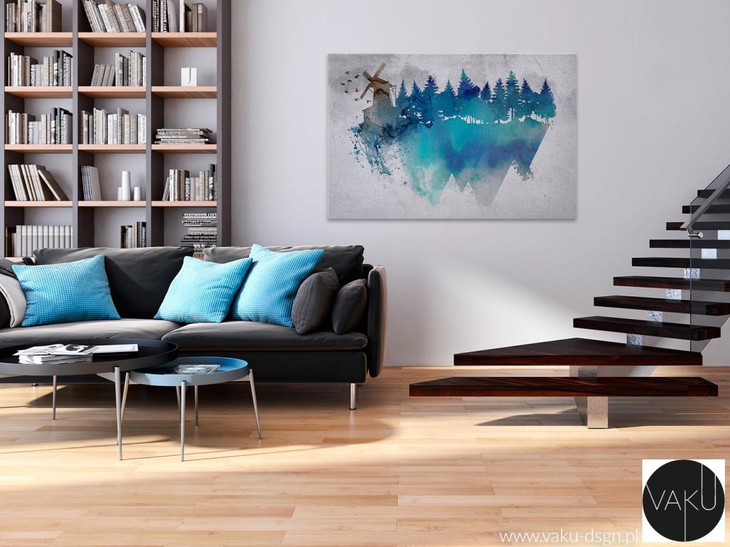 salon błękitne poduszki
