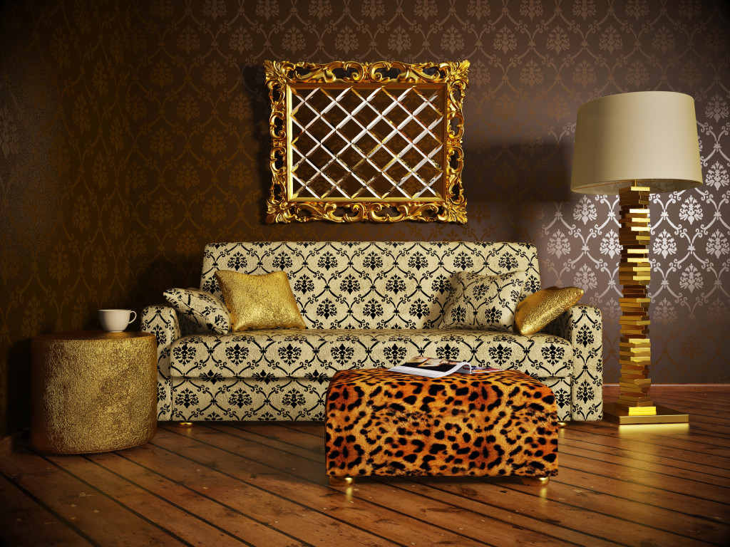 gold luxurious interior with brown wall and gold frame