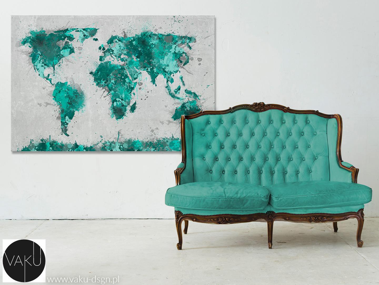 obraz - turkusowa mapa