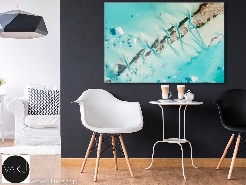 turkusowy obraz do salonu