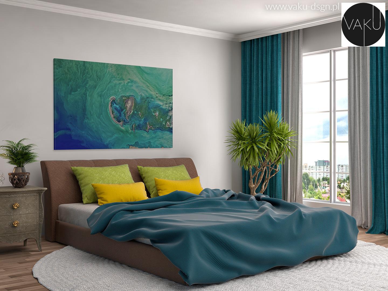 turkusowy obraz do sypialni
