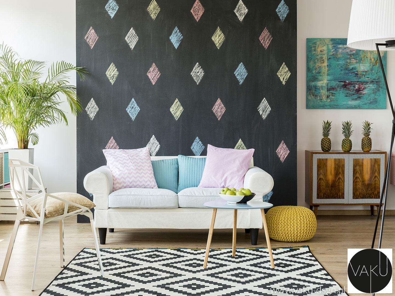 pastelowe poduszki w salonie