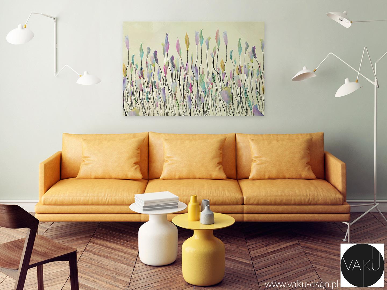 sofa w kolorze musztardowym