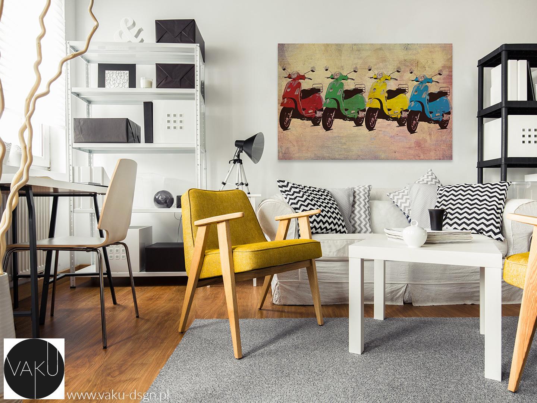 fotele w kolorze musztardowym