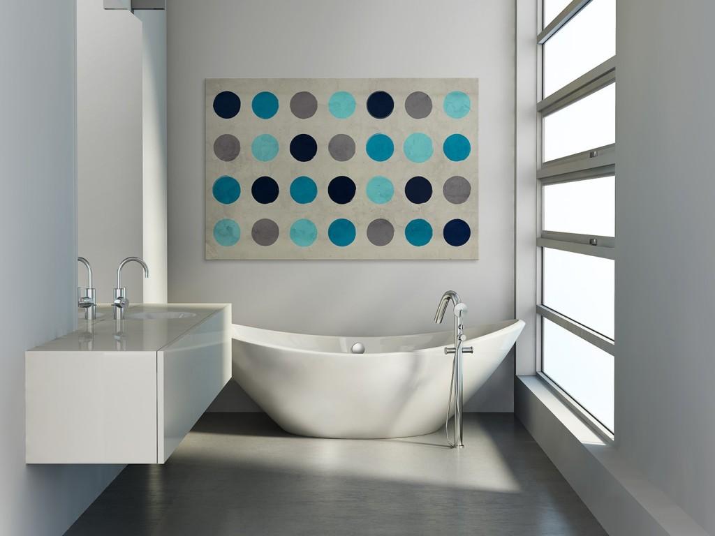 szaro turkusowa aranżacja minimalistycznej łazienki