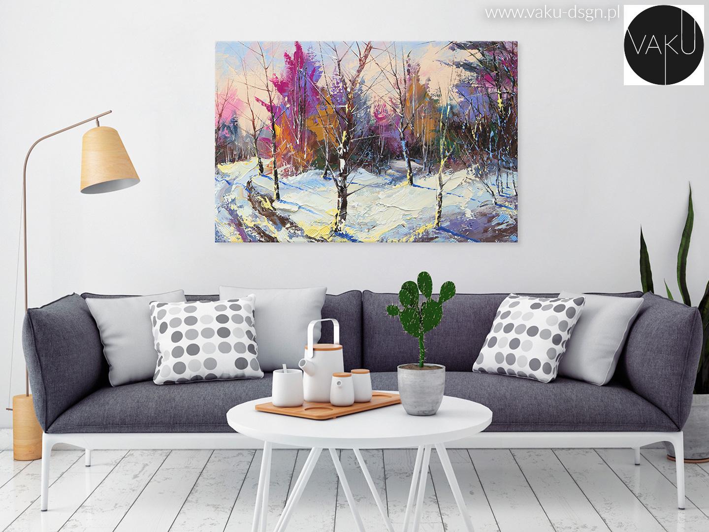 zimowy pejzaż z drzewami