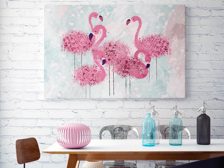 obraz z flamingami