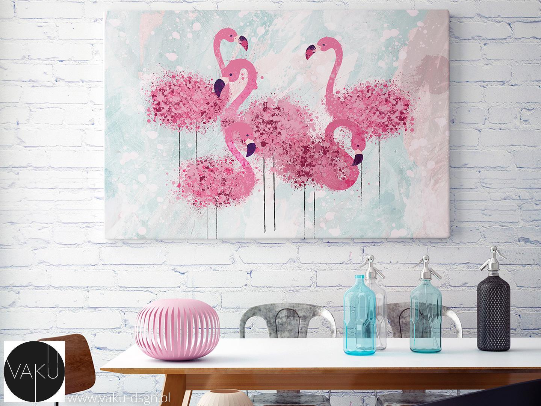 motyw flamingów