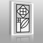 minimalistyczny obraz z kwiatem w stylu Bauhaus