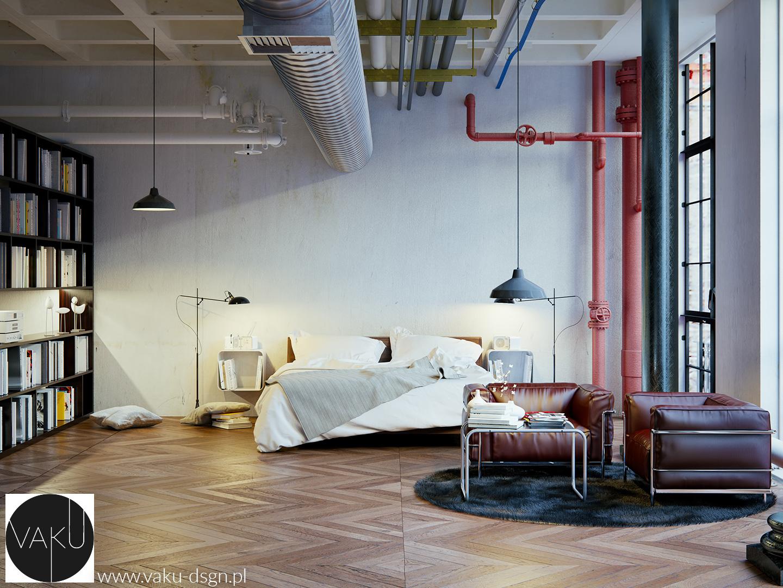 industrialna sypialnia z wysokim sufitem