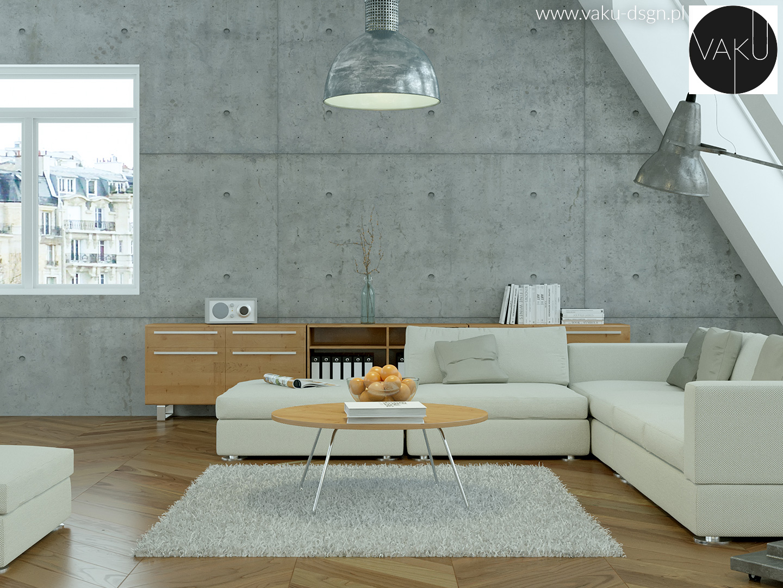 beton architektoniczny w salonie