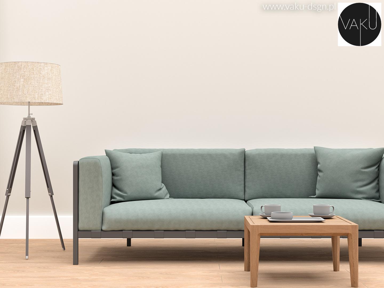 sofa w kolorze szałwii