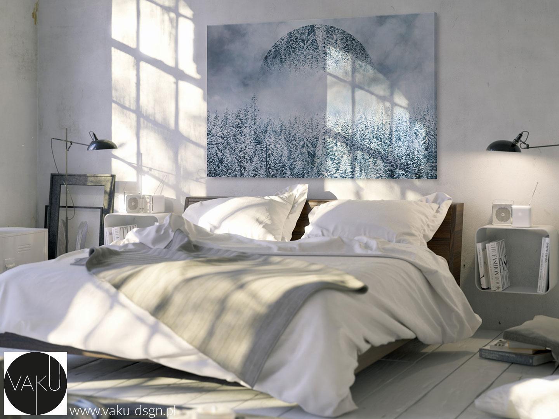 zimowy abstrakcyjny pejzaż na płótnie