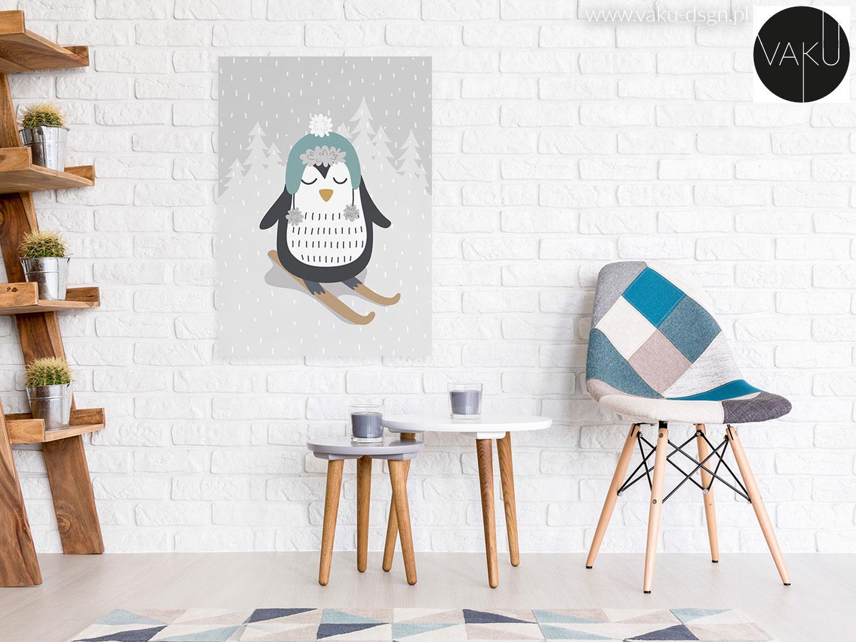 obraz z pingwinem do dziecięcego pokoju