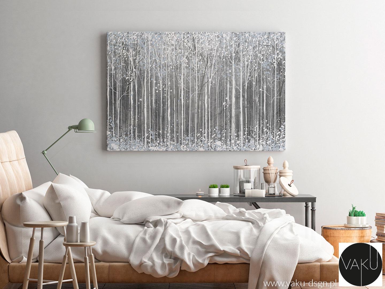 zimowa abstrakcja do sypialni